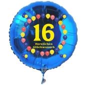Luftballon aus Folie zum 16. Geburtstag, blauer Rundballon, Balloons, Herzlichen Glückwunsch, inklusive Ballongas