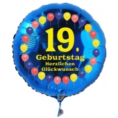Luftballon aus Folie zum 19. Geburtstag, blauer Rundballon, Balloons, Herzlichen Glückwunsch, inklusive Ballongas