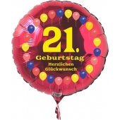 Luftballon aus Folie zum 21. Geburtstag, roter Rundballon, Balloons, Herzlichen Glückwunsch, inklusive Ballongas