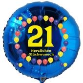 Luftballon aus Folie zum 21. Geburtstag, blauer Rundballon, Balloons, Herzlichen Glückwunsch, inklusive Ballongas