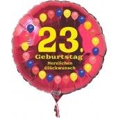 Luftballon aus Folie zum 23. Geburtstag, roter Rundballon, Balloons, Herzlichen Glückwunsch, inklusive Ballongas