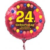 Luftballon aus Folie zum 24. Geburtstag, roter Rundballon, Balloons, Herzlichen Glückwunsch, inklusive Ballongas
