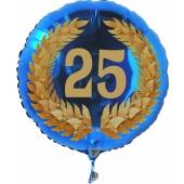Luftballon aus Folie mit Ballongas, Zahl 25 im Lorbeerkranz, zum 25. Geburtstag, Jubiläum oder Jahrestag