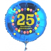 Luftballon aus Folie zum 25. Geburtstag, blauer Rundballon, Zahl 25, Balloons, Herzlichen Glückwunsch, inklusive Ballongas