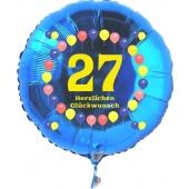 Luftballon aus Folie zum 27. Geburtstag, blauer Rundballon, Zahl 27, Balloons, Herzlichen Glückwunsch, inklusive Ballongas