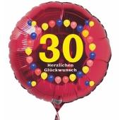 Luftballon aus Folie zum 30. Geburtstag, roter Rundballon, Zahl 30, Balloons, Herzlichen Glückwunsch, inklusive Ballongas