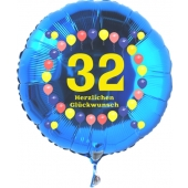 Luftballon aus Folie zum 32. Geburtstag, blauer Rundballon, Zahl 32, Balloons, Herzlichen Glückwunsch, inklusive Ballongas