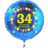 Luftballon aus Folie zum 34. Geburtstag, blauer Rundballon, Zahl 34, Balloons, Herzlichen Glückwunsch, inklusive Ballongas