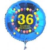 Luftballon aus Folie zum 36. Geburtstag, blauer Rundballon, Zahl 36, Balloons, Herzlichen Glückwunsch, inklusive Ballongas