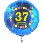 Luftballon aus Folie zum 37. Geburtstag, blauer Rundballon, Zahl 37, Balloons, Herzlichen Glückwunsch, inklusive Ballongas