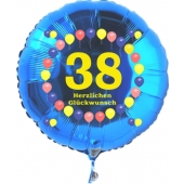 Luftballon aus Folie zum 38. Geburtstag, blauer Rundballon, Zahl 38, Balloons, Herzlichen Glückwunsch, inklusive Ballongas