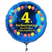 Luftballon aus Folie zum 4. Geburtstag, blauer Rundballon, Balloons, Herzlichen Glückwunsch, inklusive Ballongas