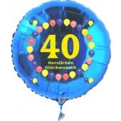 Luftballon aus Folie zum 40. Geburtstag, blauer Rundballon, Zahl 40, Balloons, Herzlichen Glückwunsch, inklusive Ballongas
