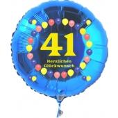 Luftballon aus Folie zum 41. Geburtstag, blauer Rundballon, Zahl 41, Balloons, Herzlichen Glückwunsch, inklusive Ballongas