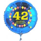 Luftballon aus Folie zum 42. Geburtstag, blauer Rundballon, Zahl 42, Balloons, Herzlichen Glückwunsch, inklusive Ballongas