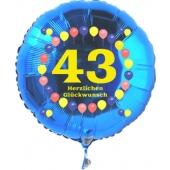 Luftballon aus Folie zum 43. Geburtstag, blauer Rundballon, Zahl 43, Balloons, Herzlichen Glückwunsch, inklusive Ballongas