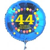 Luftballon aus Folie zum 44. Geburtstag, blauer Rundballon, Zahl 44, Balloons, Herzlichen Glückwunsch, inklusive Ballongas