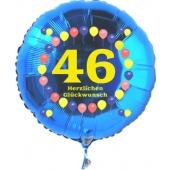 Luftballon aus Folie zum 46. Geburtstag, blauer Rundballon, Zahl 46, Balloons, Herzlichen Glückwunsch, inklusive Ballongas