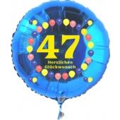 Luftballon aus Folie zum 47. Geburtstag, blauer Rundballon, Zahl 47, Balloons, Herzlichen Glückwunsch, inklusive Ballongas