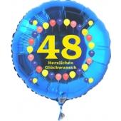 Luftballon aus Folie zum 48. Geburtstag, blauer Rundballon, Zahl 48, Balloons, Herzlichen Glückwunsch, inklusive Ballongas