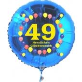 Luftballon aus Folie zum 49. Geburtstag, blauer Rundballon, Zahl 49, Balloons, Herzlichen Glückwunsch, inklusive Ballongas
