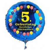 Luftballon aus Folie zum 5. Geburtstag, blauer Rundballon, Balloons, Herzlichen Glückwunsch, inklusive Ballongas