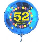 Luftballon aus Folie zum 52. Geburtstag, blauer Rundballon, Zahl 52, Balloons, Herzlichen Glückwunsch, inklusive Ballongas