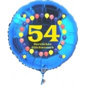 Luftballon aus Folie zum 54. Geburtstag, blauer Rundballon, Zahl 54, Balloons, Herzlichen Glückwunsch, inklusive Ballongas
