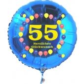 Luftballon aus Folie zum 55. Geburtstag, blauer Rundballon, Zahl 55, Balloons, Herzlichen Glückwunsch, inklusive Ballongas