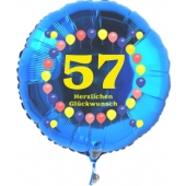 Luftballon aus Folie zum 57. Geburtstag, blauer Rundballon, Zahl 57, Balloons, Herzlichen Glückwunsch, inklusive Ballongas