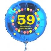 Luftballon aus Folie zum 59. Geburtstag, blauer Rundballon, Zahl 59, Balloons, Herzlichen Glückwunsch, inklusive Ballongas