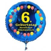 Luftballon aus Folie zum 6. Geburtstag, blauer Rundballon, Balloons, Herzlichen Glückwunsch, inklusive Ballongas