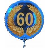 Luftballon aus Folie mit Ballongas, Zahl 60 im Lorbeerkranz, zum 60. Geburtstag, Jubiläum oder Jahrestag