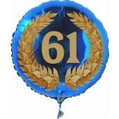 Luftballon aus Folie mit Ballongas, Zahl 61 im Lorbeerkranz, zum 61. Geburtstag, Jubiläum oder Jahrestag