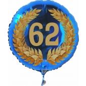 Luftballon aus Folie mit Ballongas, Zahl 62 im Lorbeerkranz, zum 62. Geburtstag, Jubiläum oder Jahrestag