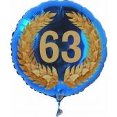 Luftballon aus Folie mit Ballongas, Zahl 63 im Lorbeerkranz, zum 63. Geburtstag, Jubiläum oder Jahrestag