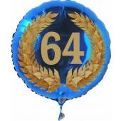 Luftballon aus Folie mit Ballongas, Zahl 64 im Lorbeerkranz, zum 64. Geburtstag, Jubiläum oder Jahrestag