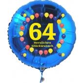Luftballon aus Folie zum 64. Geburtstag, blauer Rundballon, Balloons, Herzlichen Glückwunsch, inklusive Ballongas