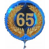 Luftballon aus Folie mit Ballongas, Zahl 65 im Lorbeerkranz, zum 65. Geburtstag, Jubiläum oder Jahrestag