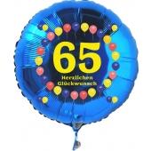 Luftballon aus Folie zum 65. Geburtstag, blauer Rundballon, Balloons, Herzlichen Glückwunsch, inklusive Ballongas