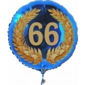 Luftballon aus Folie mit Ballongas, Zahl 66 im Lorbeerkranz, zum 66. Geburtstag, Jubiläum oder Jahrestag