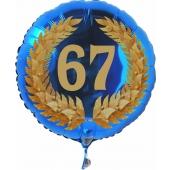 Luftballon aus Folie mit Ballongas, Zahl 67 im Lorbeerkranz, zum 67. Geburtstag, Jubiläum oder Jahrestag