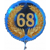 Luftballon aus Folie mit Ballongas, Zahl 68 im Lorbeerkranz, zum 68. Geburtstag, Jubiläum oder Jahrestag