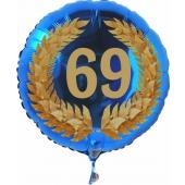 Luftballon aus Folie mit Ballongas, Zahl 69 im Lorbeerkranz, zum 69. Geburtstag, Jubiläum oder Jahrestag
