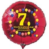 Luftballon aus Folie zum 7. Geburtstag, roter Rundballon, Balloons, Herzlichen Glückwunsch, inklusive Ballongas