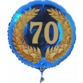 Luftballon aus Folie mit Ballongas, Zahl 70 im Lorbeerkranz, zum 70. Geburtstag, Jubiläum oder Jahrestag