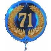 Luftballon aus Folie mit Ballongas, Zahl 71 im Lorbeerkranz, zum 71. Geburtstag, Jubiläum oder Jahrestag