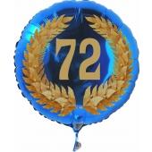 Luftballon aus Folie mit Ballongas, Zahl 72 im Lorbeerkranz, zum 72. Geburtstag, Jubiläum oder Jahrestag