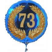 Luftballon aus Folie mit Ballongas, Zahl 73 im Lorbeerkranz, zum 73. Geburtstag, Jubiläum oder Jahrestag