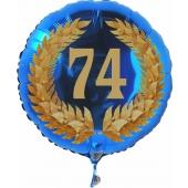 Luftballon aus Folie mit Ballongas, Zahl 74 im Lorbeerkranz, zum 74. Geburtstag, Jubiläum oder Jahrestag